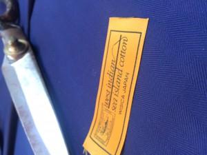 ナンバリングの入った海島綿のジャケット生地